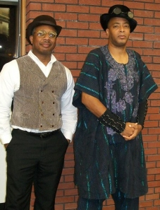 Author Milton Davis & Author / Filmmaker Balogun Ojetade at the Mahogany Masquerade