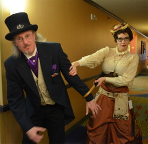 Author Gail Carrington, creator of the Parasol Protectorate series Bartitsu instructor Terry Kroenung. Courtesy io9
